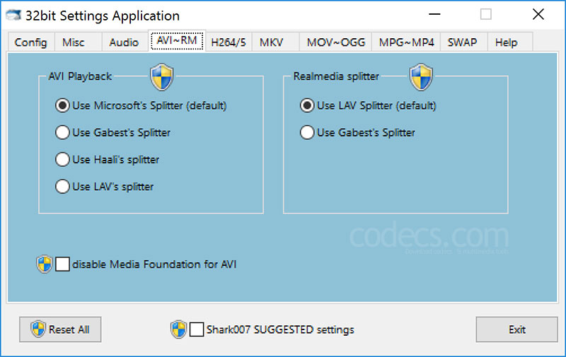 ADVANCED Codecs 11.5.1 screenshot