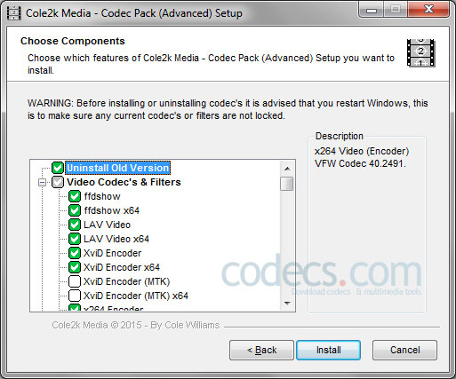 Cole2k Media Codec Pack 8.0.6 screenshot