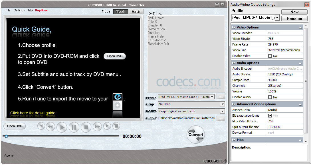 Cucusoft DVD to iPod Converter 8.17 screenshot