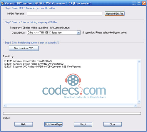 Cucusoft Free DVD Author - MPEG to VOB Converter 1.09 screenshot