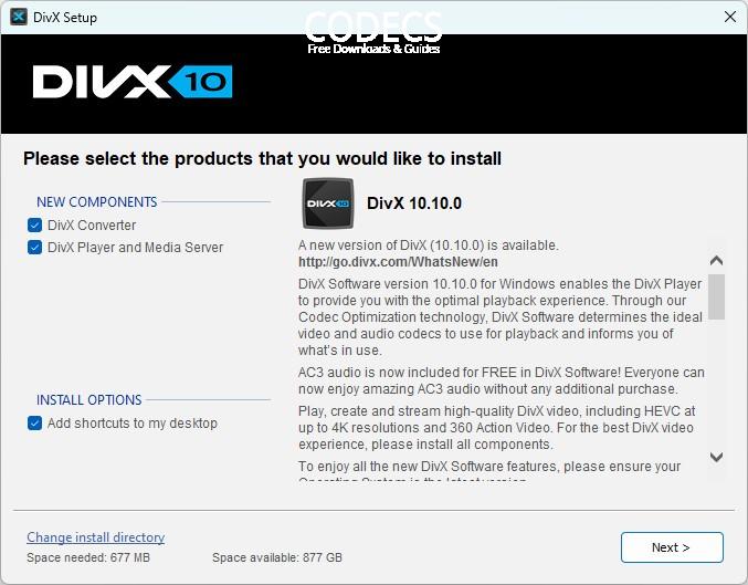 divx plus codec pack offline installer