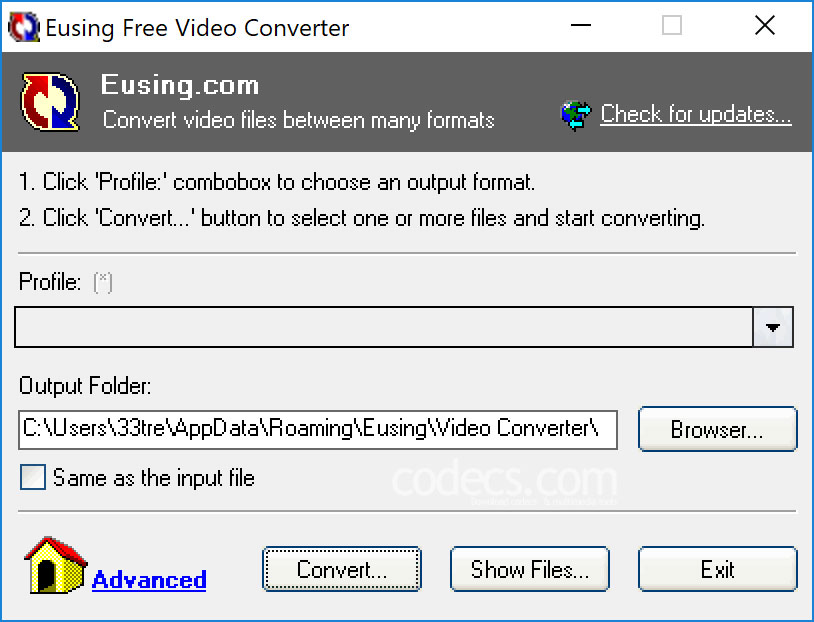 Eusing Free Video Converter 2.0 screenshot