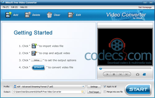 iWisoft Free Video Converter 1.2.091127 screenshot