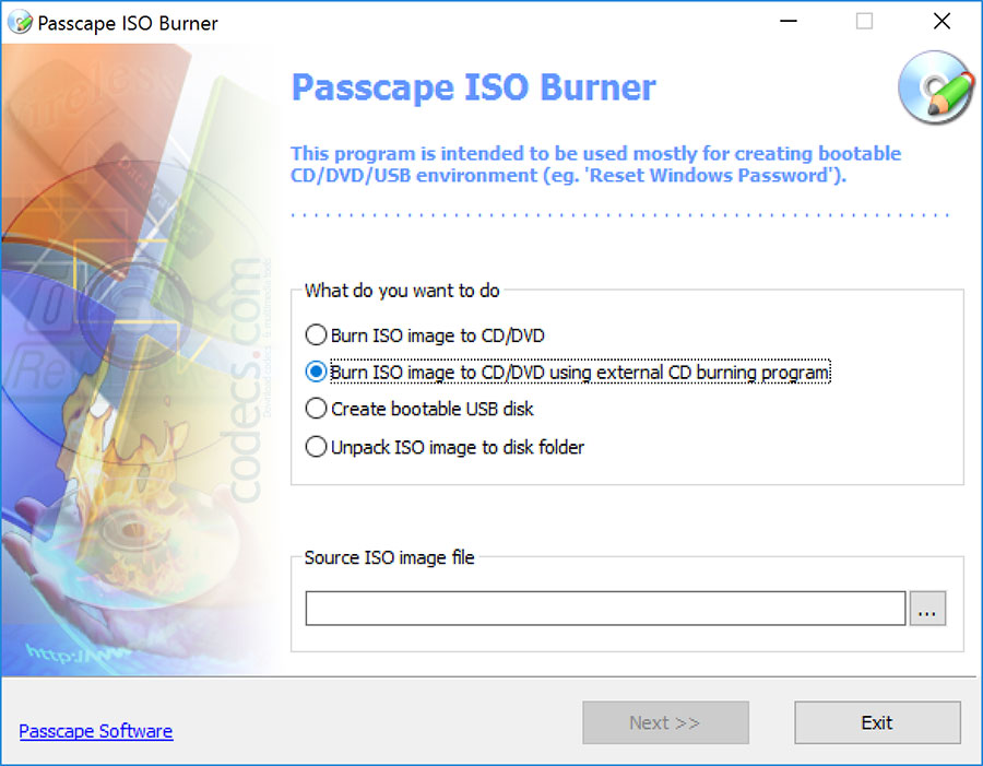 Passcape ISO Burner 2.1.1 screenshot