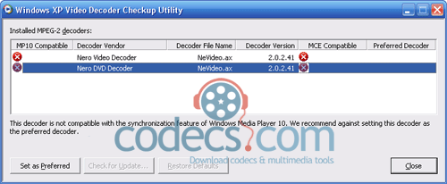 Windows XP Video Decoder Checkup Utility 1.0.0.1 screenshot